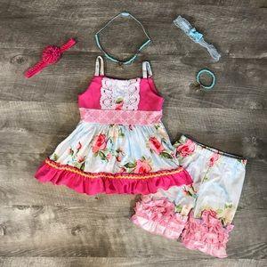 2 piece boutique rose summer outfit